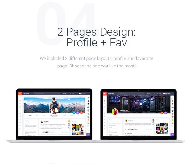 2 Pages Design: Profile + Fav