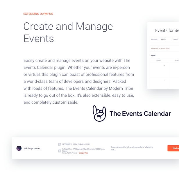 Manage Events with plugin