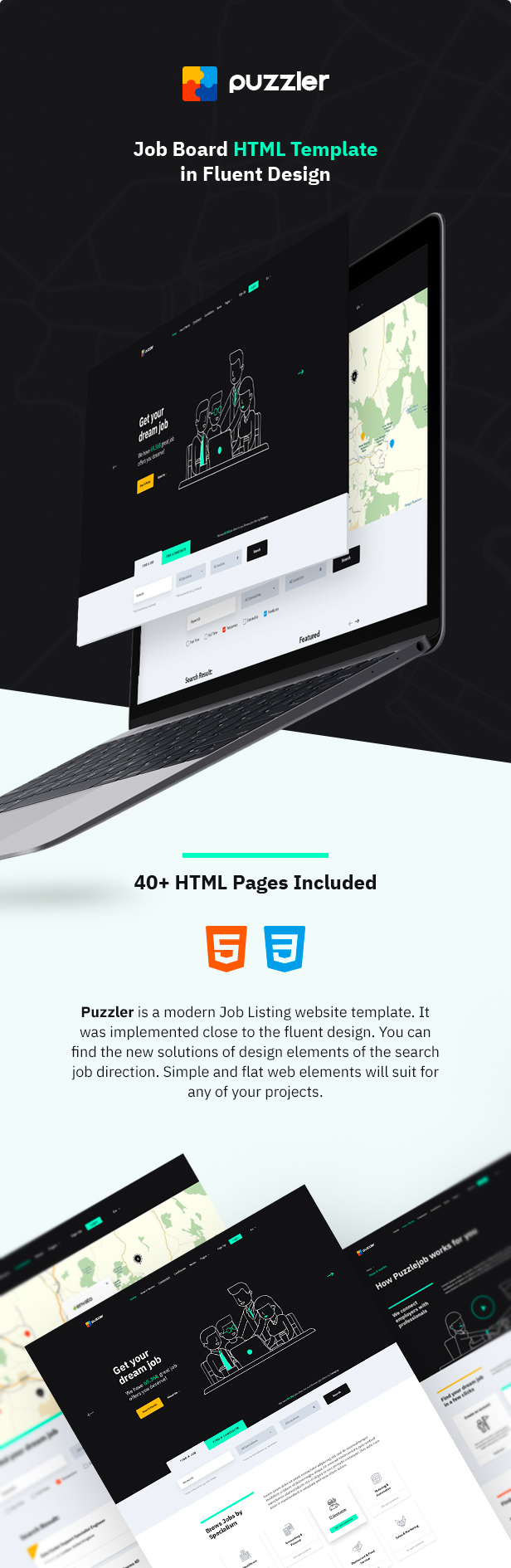 Job Board HTML Template in Fluent Design
