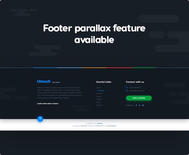 Footer parallax feature available