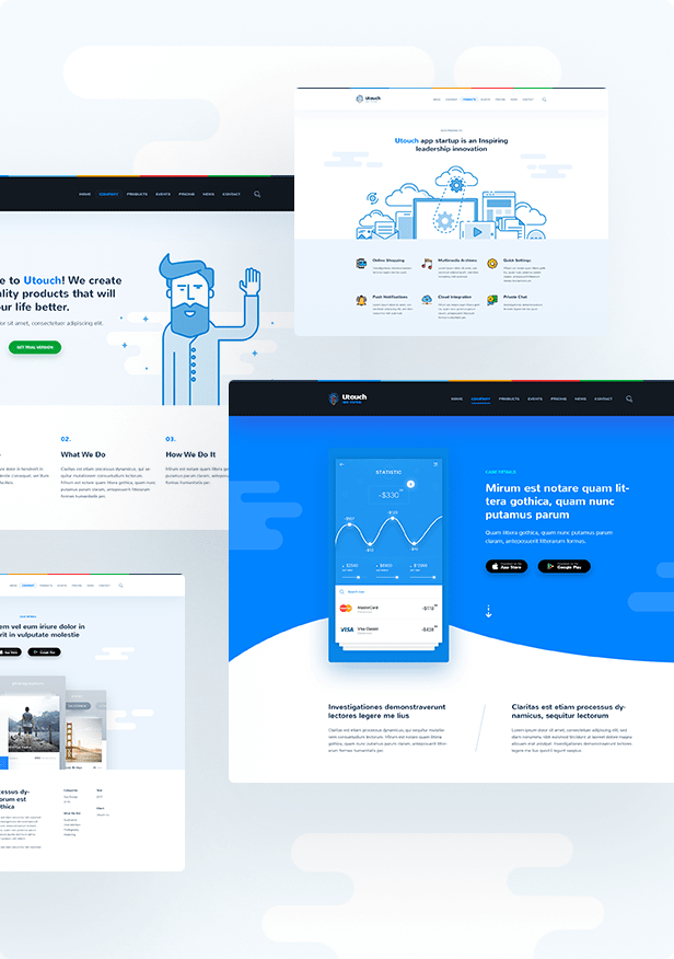 Astounding and Eye-catching Design of Utouch Startup Theme