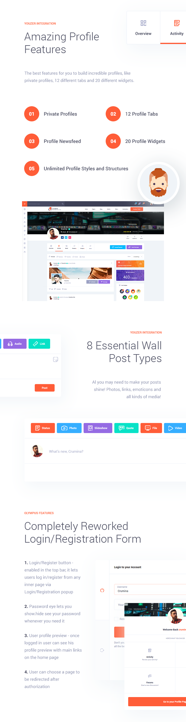 Amazing Profile Features  Download Olympus – Responsive Community & Social Network WordPress Theme nulled features img3