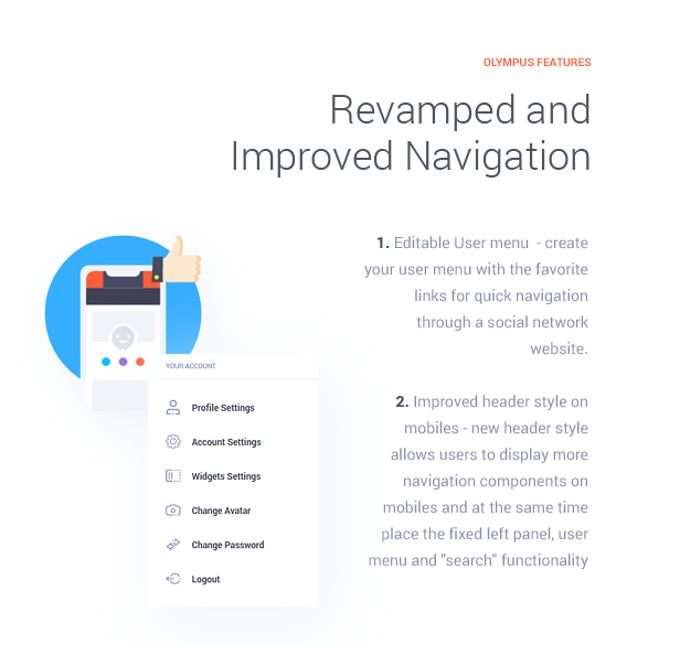 Revamped and Improved Navigation  Download Olympus – Responsive Community & Social Network WordPress Theme nulled features img4