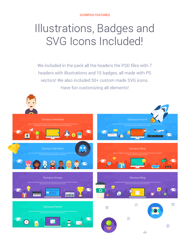 Illustrations, Badges and SVG Icons Included!  Download Olympus – Responsive Community & Social Network WordPress Theme nulled features img5