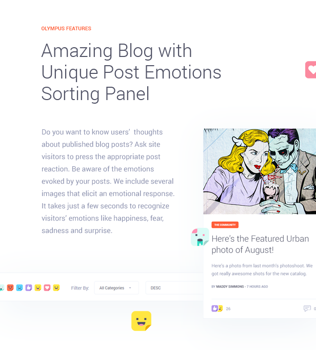 Amazing Blog with Unique Post Emotions Sorting Panel  Download Olympus – Responsive Community & Social Network WordPress Theme nulled features img6