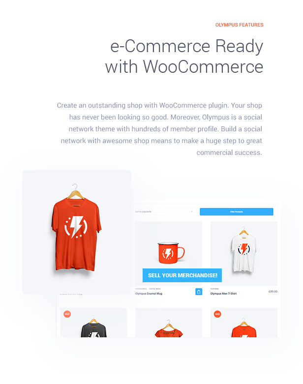 e-Commerce Ready with WooCommerce  Download Olympus – Responsive Community & Social Network WordPress Theme nulled features img7