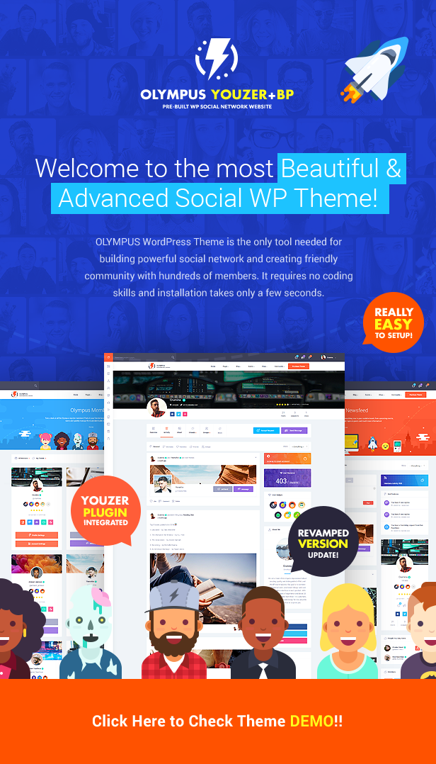 Welcome to the most Beautiful & Advanced Social WP Theme!  Download Olympus – Responsive Community & Social Network WordPress Theme nulled top img